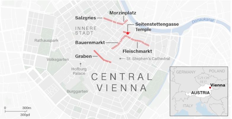 Vienna mappa degli attacchi terroristici